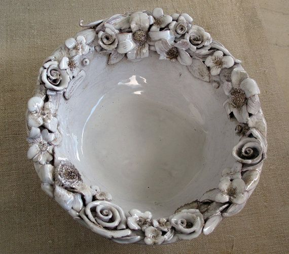 Decorative Ceramic Bowl Simple Decorative Ceramic Bowl White Flowers On Etsy $8414  Pottery Design Ideas