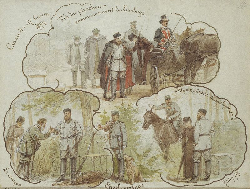 Mihaly Zichy, history drawings - Hunting Scenes of Alexander III at Spala on 4-17 September 1894