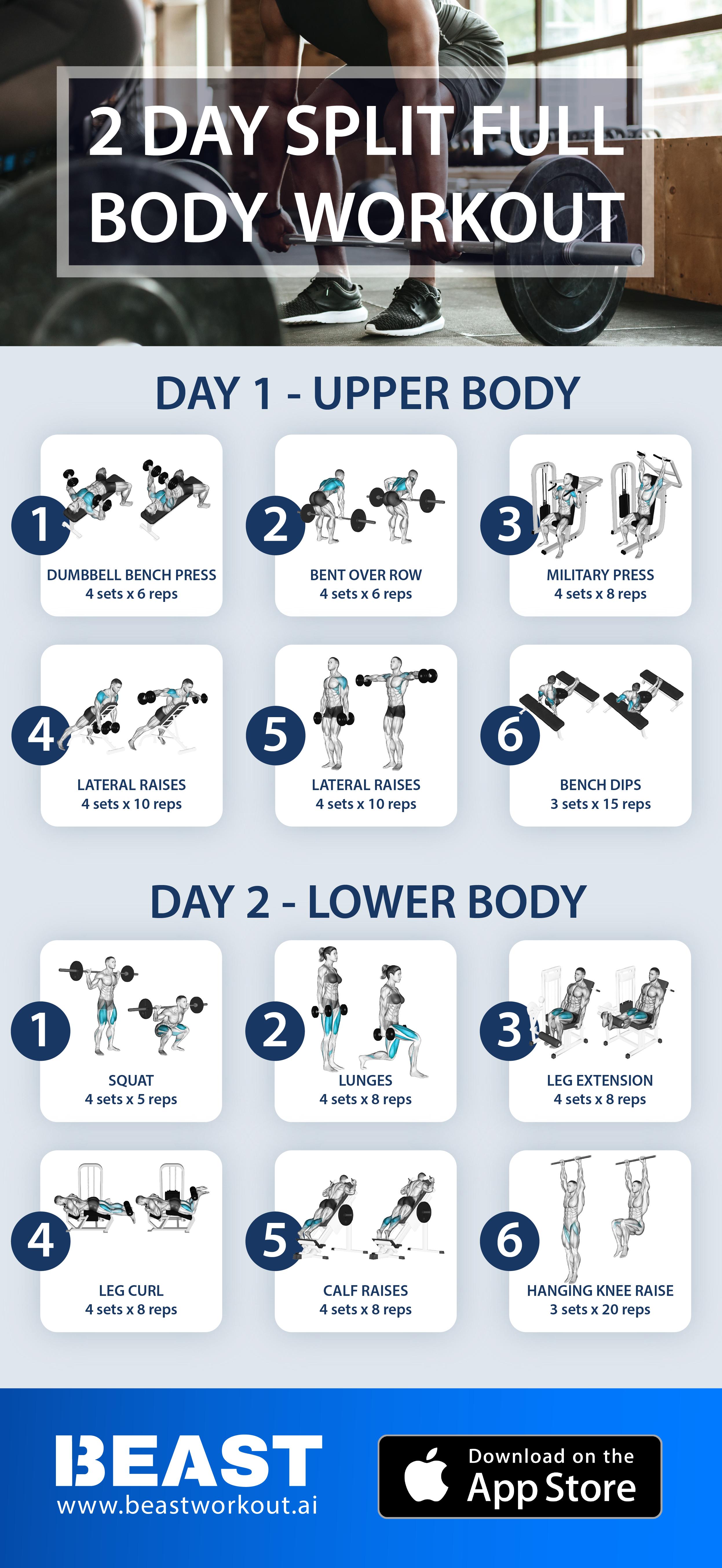Essential Full Body Workout 2 Day Split In 2020 Full Body Workout Routine Best Full Body Workout Fitness Body