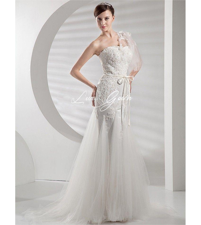 Ivory Strapless Romantic Organza Satin Bridal Wedding Dress $238.88
