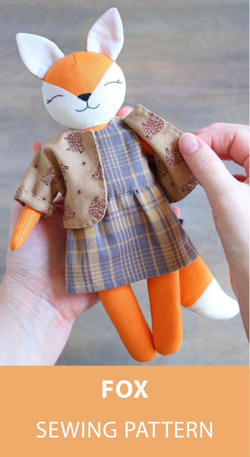 Fox Sewing Pattern, Forest Animal Doll Pattern, Fox Doll, Cloth Doll, Stuffed Woodland Animal, Plushie, Soft Toy, Plush Fox with Clothes #etsy #sewingpattern #fox #softie #instructionstodollpatterns