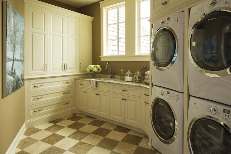 Creamy White Laundry Room Stacked Washers Dryers Brown
