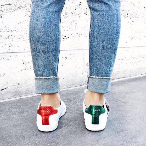 9f766e6125b6d Shoes  gucci ace sneakers gucci gucci low top sneakers white sneakers  sneakers denim jeans blue