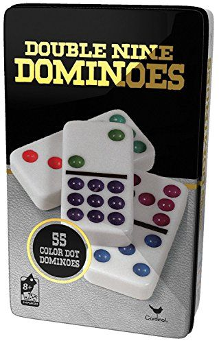 styles will vary New Double 9 Color Dot Dominoes in Collectors Tin