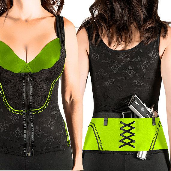 Zombie Green on Black The Big SheBang Corset by CanCanConcealment