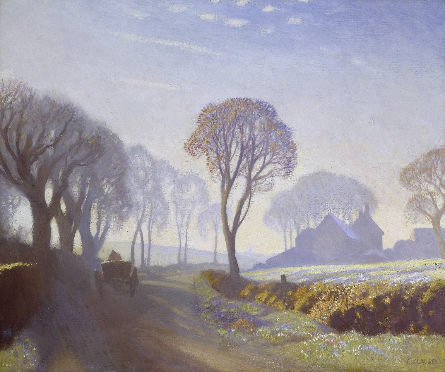 Sir George Clausen  The Road, Winter Morning exhibited 1923