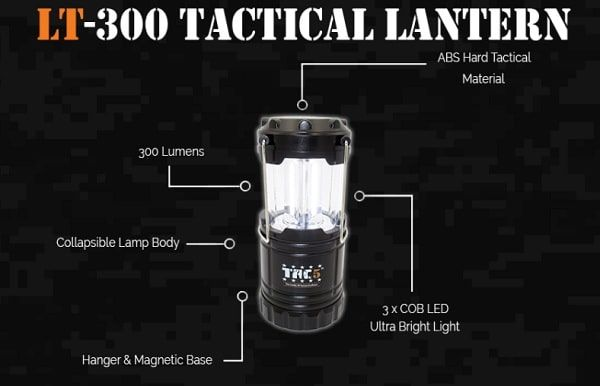"""""""Lamp uses a Super Bright 3*COB LED 300 LM and Switch Base that Pulls Up and Down.  This is one great collapsible lantern that is perfect for many situations. Use it in your own backyard, take it with you when you go hiking or walking at night. A good addition toany camping trip. Plus this is also a great safety product tokeep in your car in case of a nighttime breakdown. You are sure to find many uses for this lantern."""""""