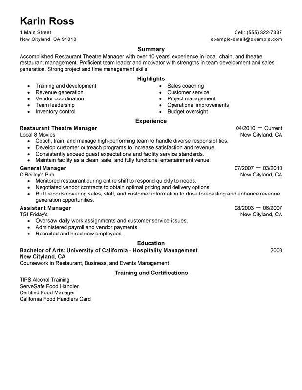 Perfect Restaurant Resume Crew Member Resume Sample My Perfect - hotel manager resume