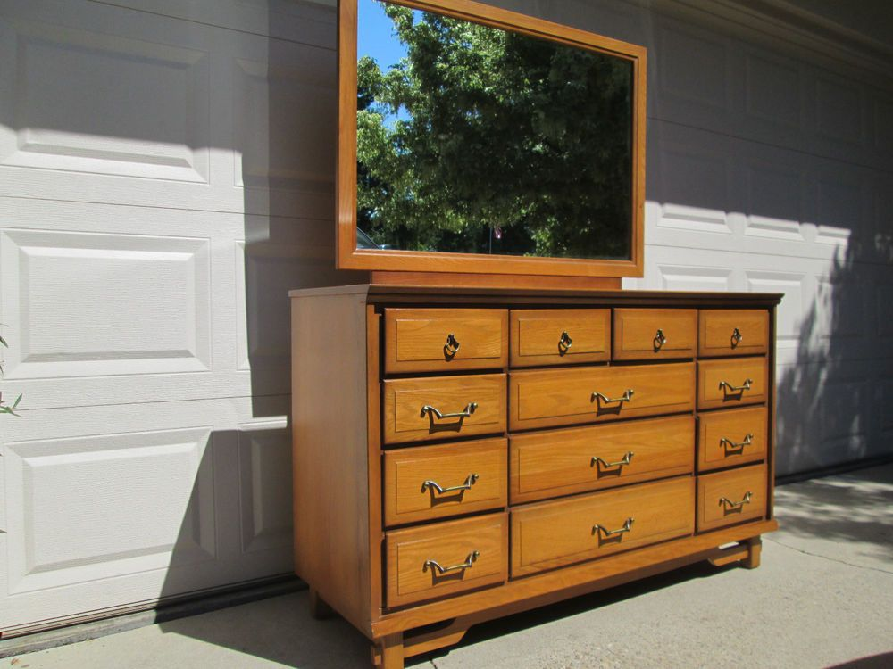 Vintage 1950s Mid Century Sumter Korn Industries Solid Oak Dresser With Mirror