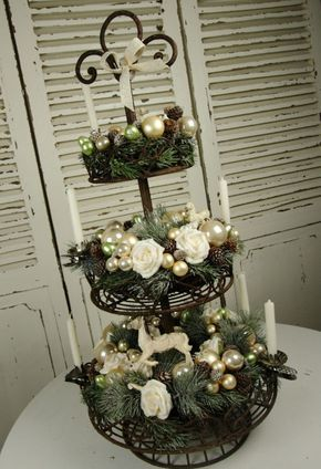 adventsgsteck etagere kr nze nostalgie shabby weihnachten deko nr 8. Black Bedroom Furniture Sets. Home Design Ideas
