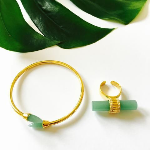VERA Green and Gold Ring and Bracelet Set