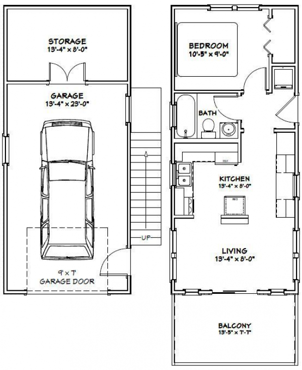 14 X 32 House 546 Sq Ft 1 Bedroom 1 Bath Home 1 Car Garage And 119 Sq Ft Storage On The Firs In 2020 Craftsman Style Kitchens New Home Construction Garage Remodel