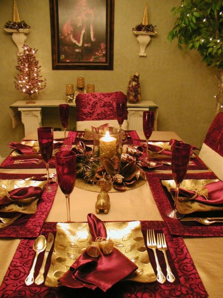 Decoraci n de mesa en dorado y rojo decoracion navide a - Adornos de mesa navidenos ...