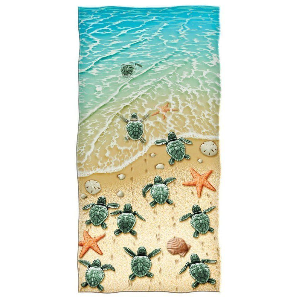 Turtles On The Beach Cotton Beach Towel Go See At Https Www Ebay Com Str Allyourhomestoreitems Cotton Beach Towel Beach Towel Beach Shower