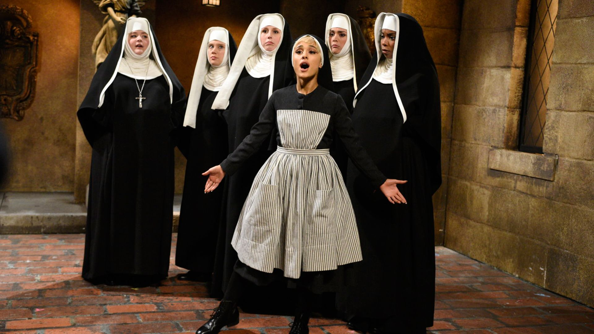 26d40af3c Sister Maria (Ariana Grande) catches her fellow nuns (Aidy Bryant ...