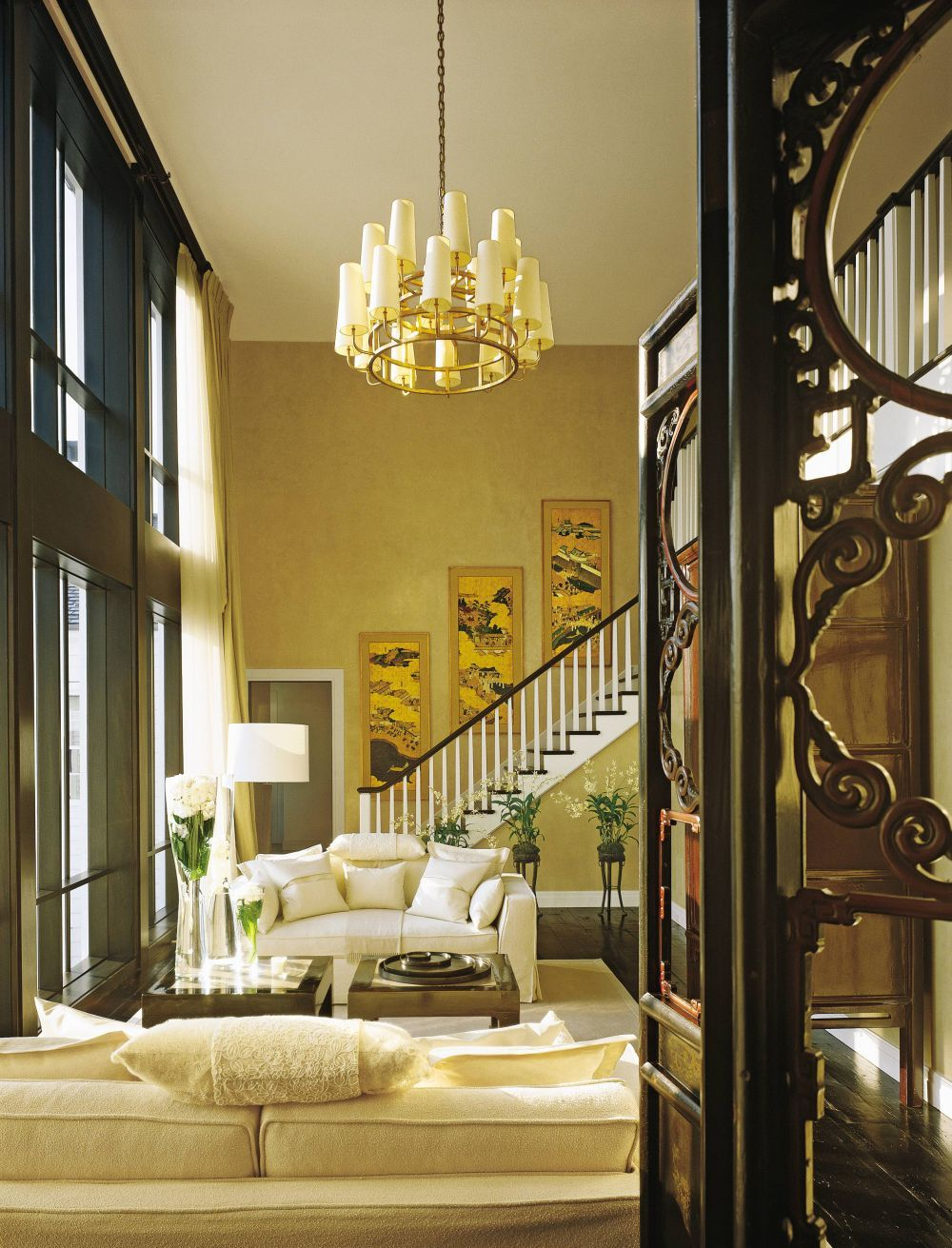 Traditional Living Room by Kelly Hoppen and Rebecca Rasmussen in  Westchester County, New York