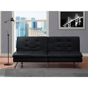 Chelsea Faux Leather Futon Sofabed Black walmart 199 Futons