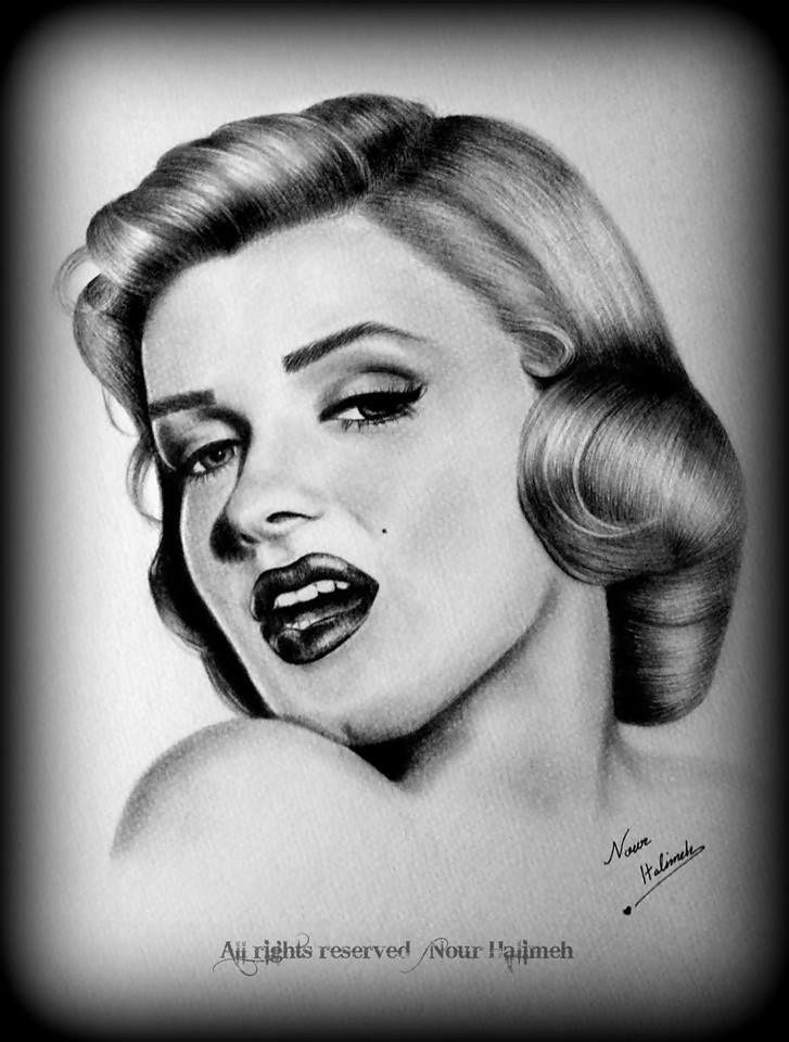 رسم مارلين مونرو نور حليمة Drawing Inspiration Sketches Drawings