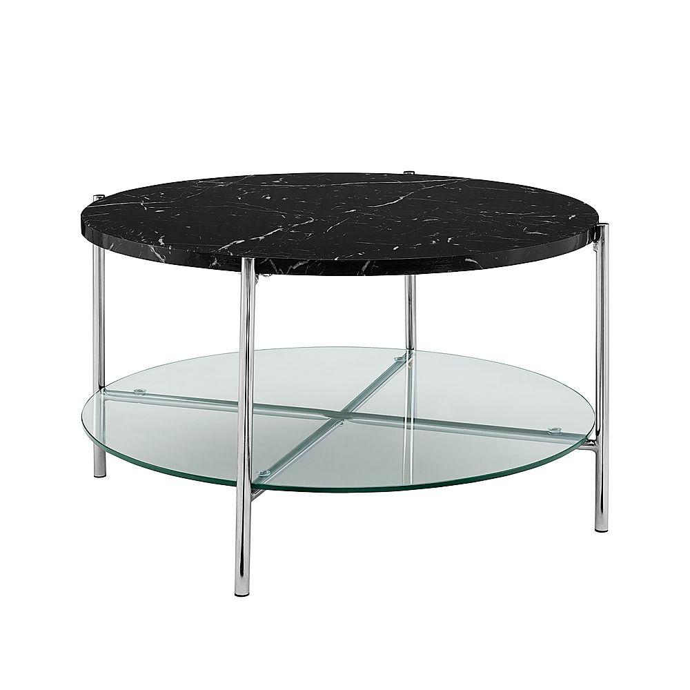 Walker Edison Modern Round Coffee Table Faux Black Marble Glass Chrome Bbf32srdctbmcr Best Buy Round Coffee Table Modern Glam Coffee Table Coffee Table [ 1000 x 1000 Pixel ]