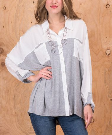 Another great find on #zulily! Ivory & Gray Color Block Button-Up #zulilyfinds