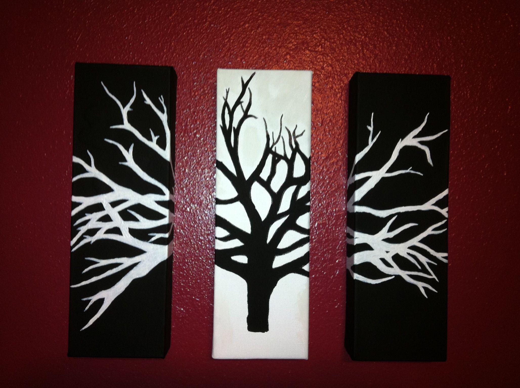 My 3 Piece Black White Tree Art 3 Piece Canvas Art Canvas Painting Designs Canvas Painting Tutorials