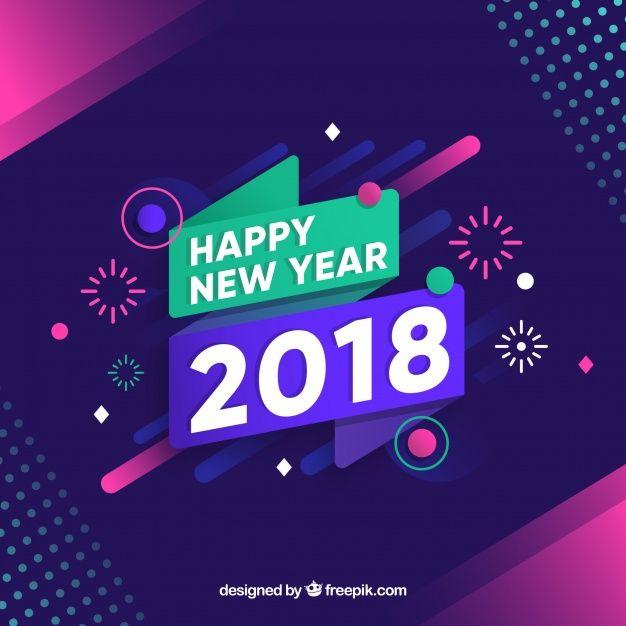 Fondo De Ano Nuevo 2018 Con Fuegos Artificiales Vector Gratis