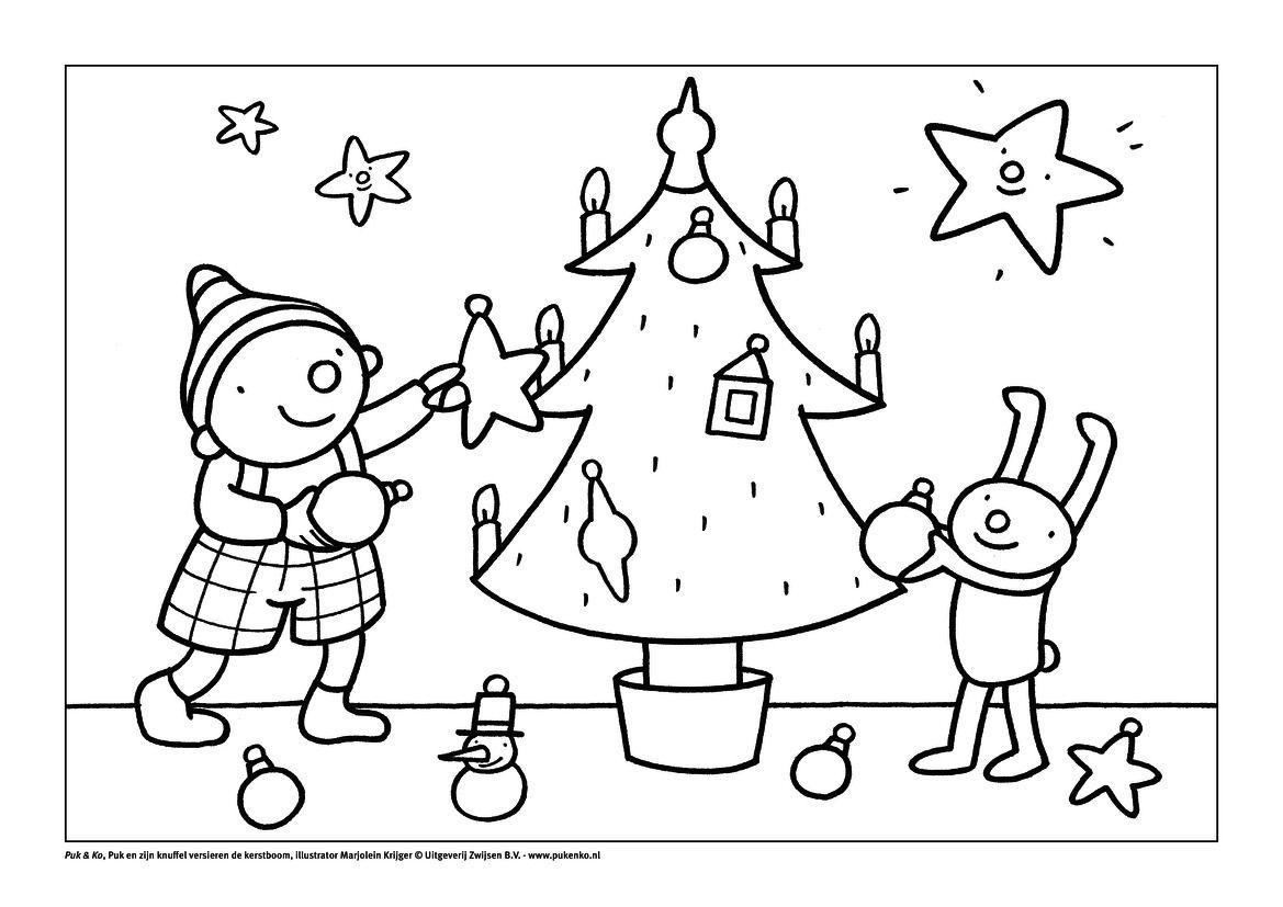 Kleurplaten Kerst Pdf.Kleurplaat Puk Viert Kerst Kerst Kerst Knutselen En