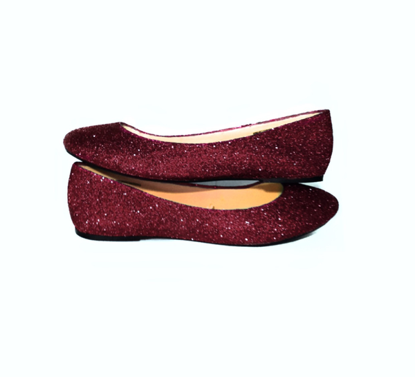 49a968853ca2 Either black or red depends. Sparkly Burgundy glitter ballet flats!  SIZING Our shoes run very true to size . If you are in between sizes please  refer to our ...