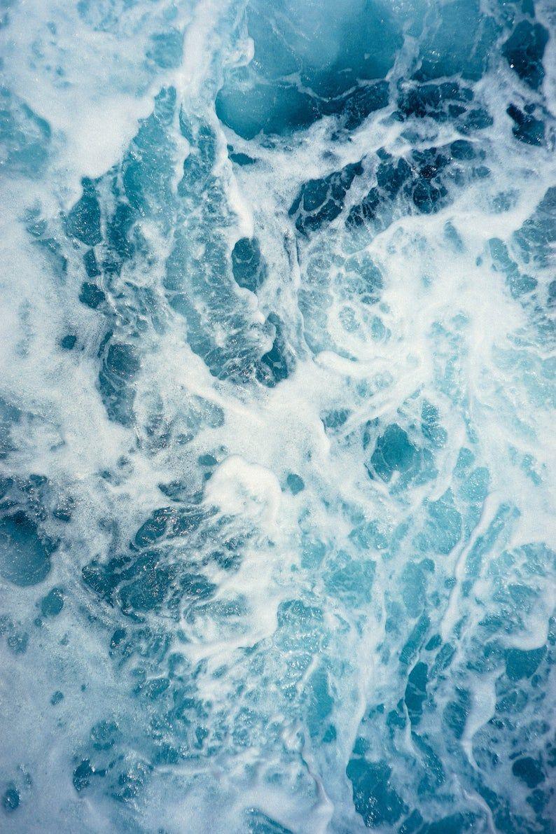 Ocean Water Wall Art Print, Aqua Blue and White Abstract Art, Coastal Beach Decor, Ocean Waves Print, Sea Photograph, Instant Digital Print