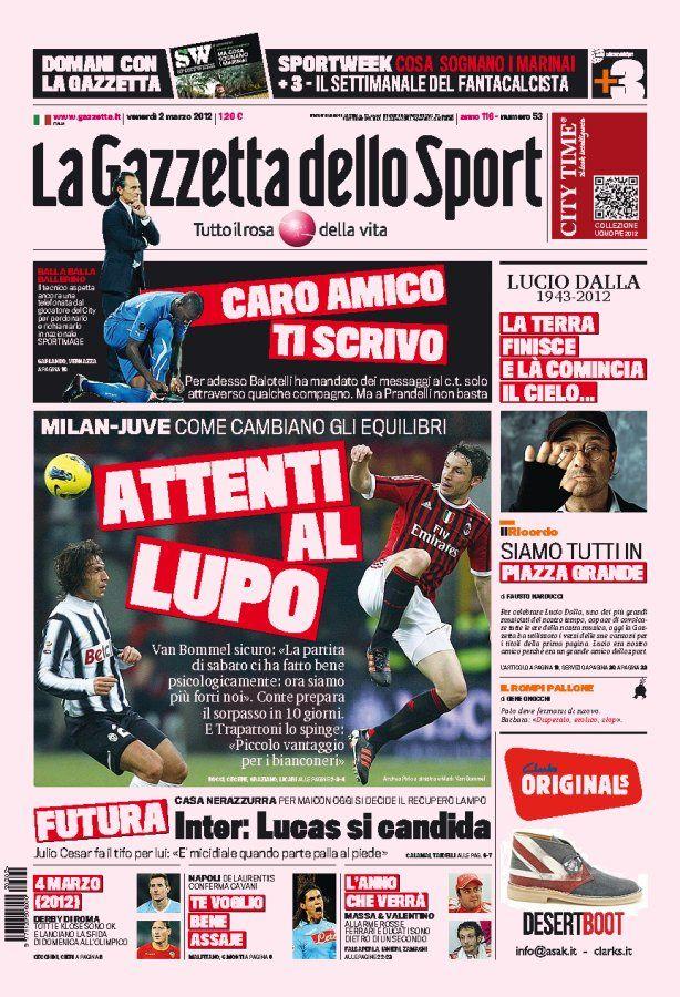 Geniale prima pagina della Gazzetta in memoria di Lucio