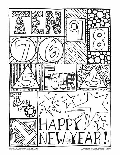 Happy New Year Coloring Page For Adults And Grown Ups Hand Drawn Printable