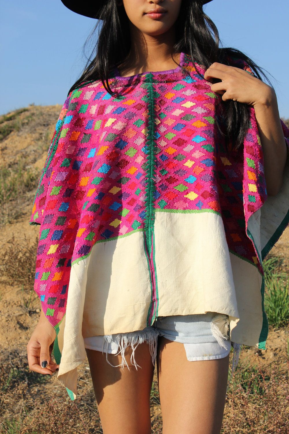 Hand Embroidered Huipil Poncho wearable textile art Textile