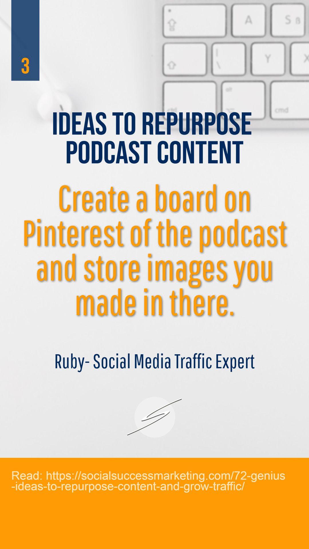 Ideas to repurpose podcast  #podcast #socialmediamarketing #contentmarketing #businessmarketing #startups