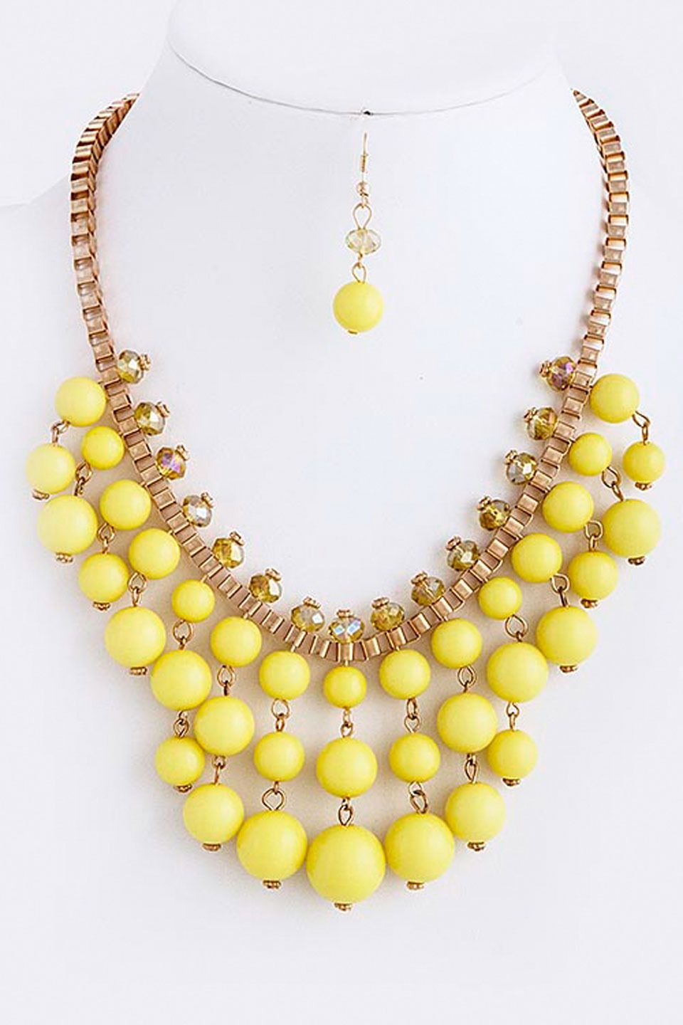 El8tion Yellow Bead Fringe Necklace and Earrings Set - Beyond the Rack