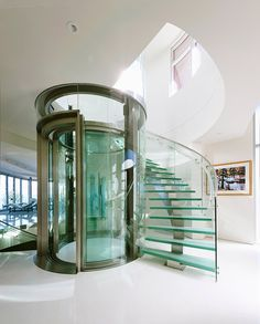 22 Sleek Glass Railings For The Stairs Glass Staircase Elevator Design Glass Elevator