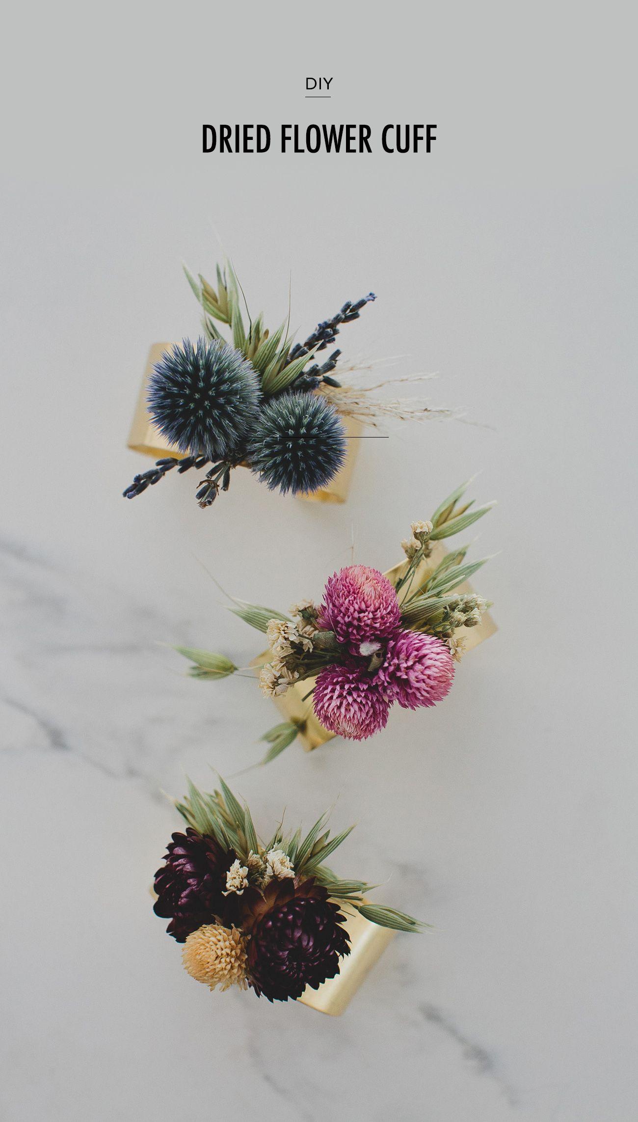 Diy Dried Flower Cuff My Wedding Pinterest Flowers Dried