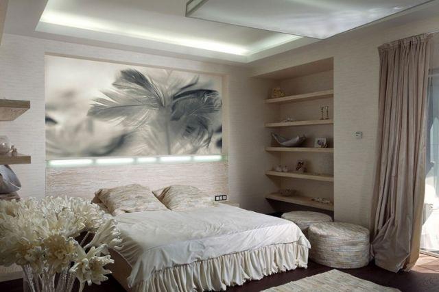 Schlafzimmerwand gestalten ~ Schlafzimmer modern gestalten helle farben indirekte beleuchtung