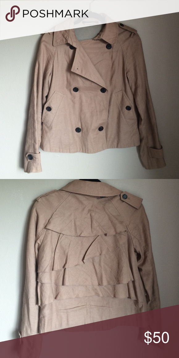 Katherine Barclay trenchcoat Short trenchcoat. Cool and subtle ruffle detail on the back. Very timeless! Katherine Barclay Jackets & Coats Trench Coats