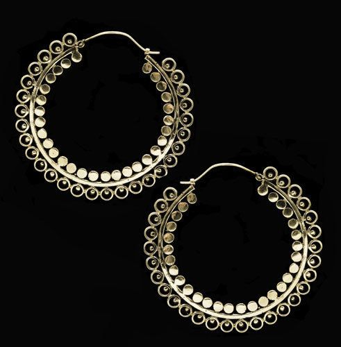 Brass Hoop Earrings Indian jewelry Pinterest