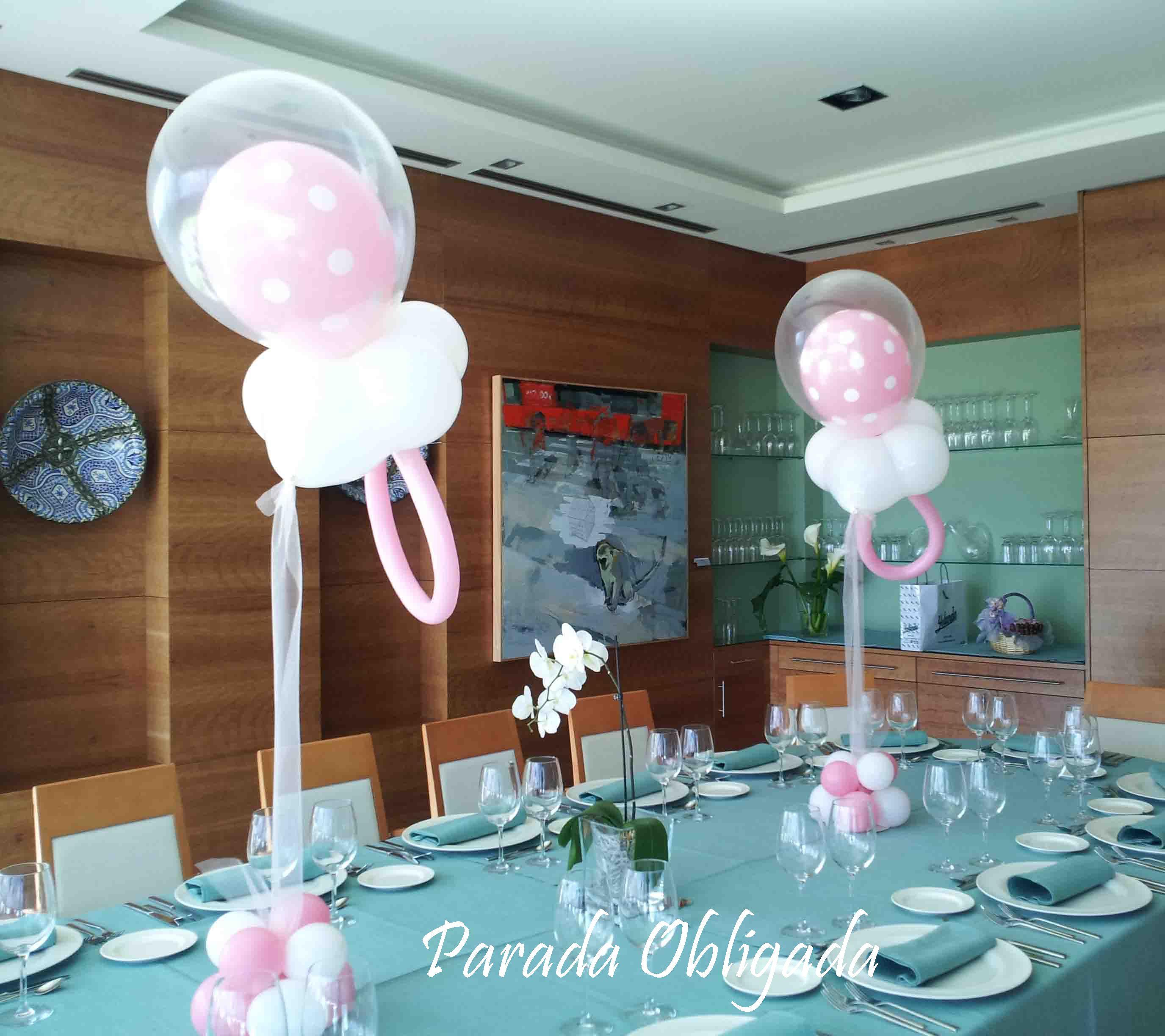 Chupetes con globos para baby shower o bautizos - Decoracion baby shower nina sencillo ...