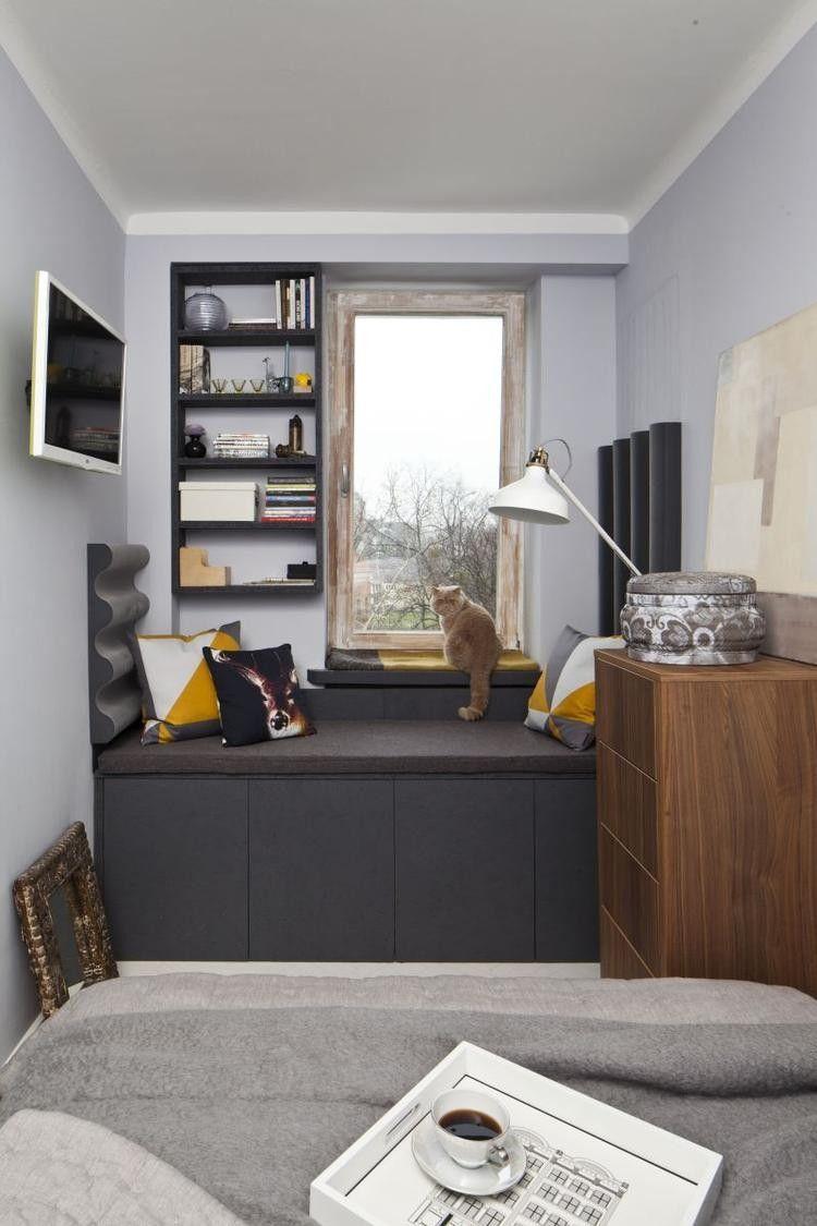 Wohnungseinrichtung Ideen Schlafzimmer Sitzbank Stauraum Anthrazit