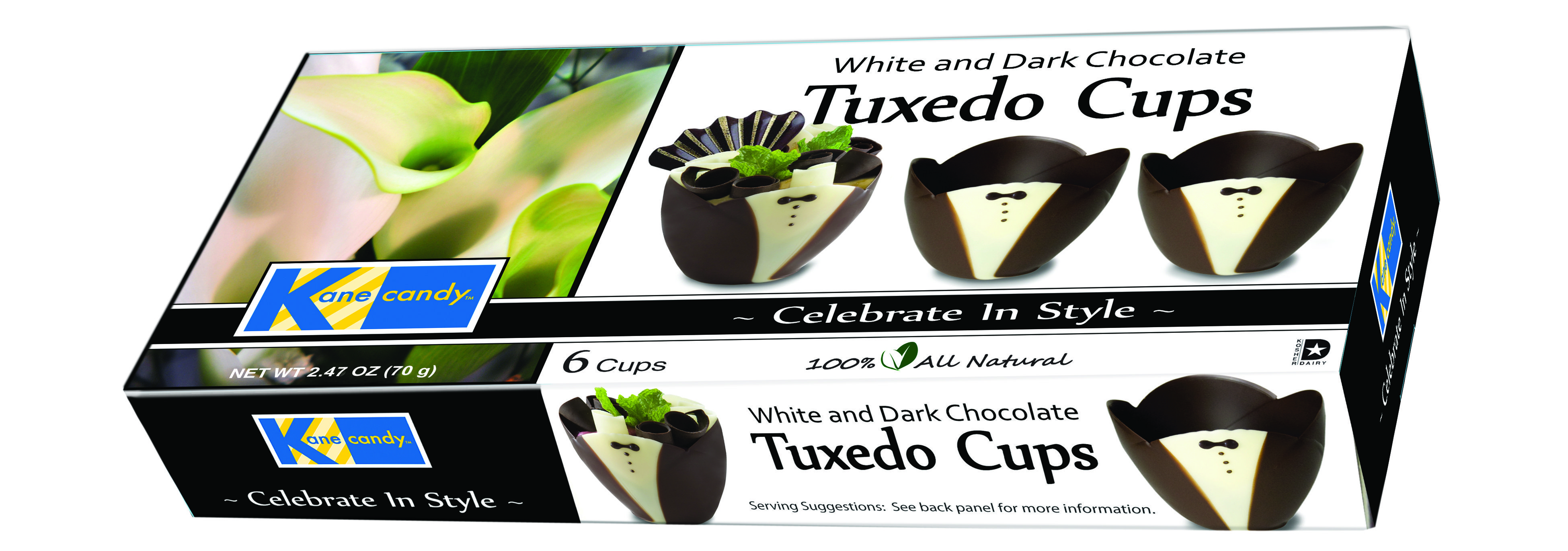 Kane Candy Chocolate Tuxedo Cups  6 cups in retail package   Fun, chocolate cups to fill & serve at any party or special event!  KaneCandy.com