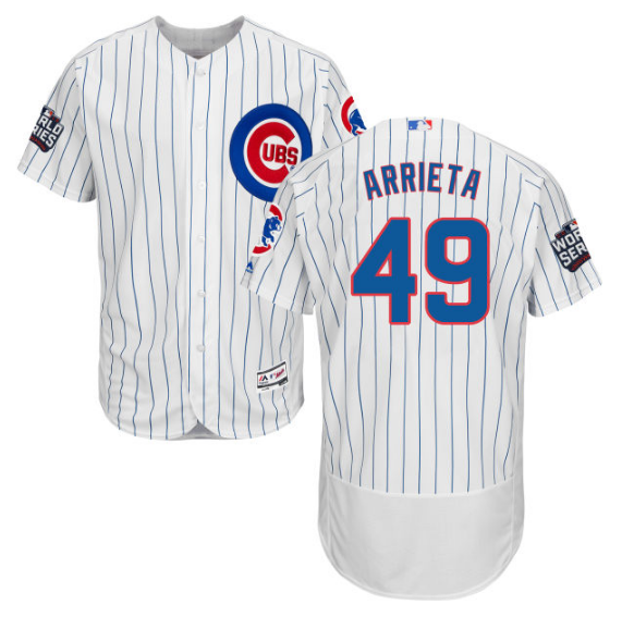 06d341062 MAJESTIC MEN S 2016 WORLD SERIES AUTHENTIC CHICAGO CUBS JAKE ARRIETA  49 FLEX  BASE HOME WHITE ON-FIELD JERSEY