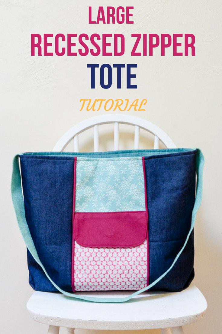 Large Zippered Tote Bag, free PDF pattern | Taschen nähen, Sammeln ...