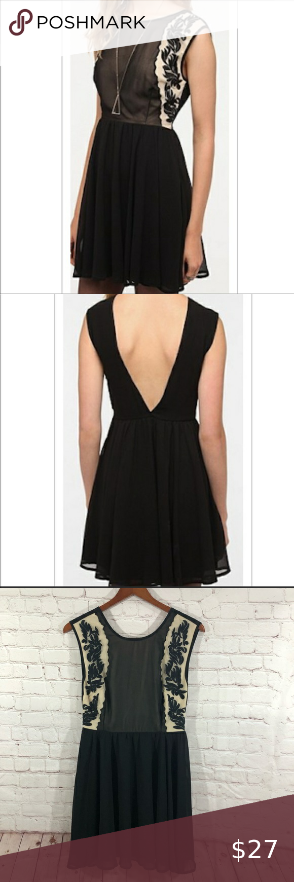 Pins Needles Embroidered Deep V Back Dress In 2021 Little Black Cocktail Dress Green Bodycon Dress Tan Dresses [ 1740 x 580 Pixel ]