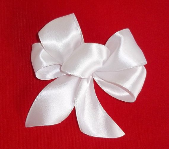 White Angel Bows in Satin Set of 6 Bows Gift by shannonkristina