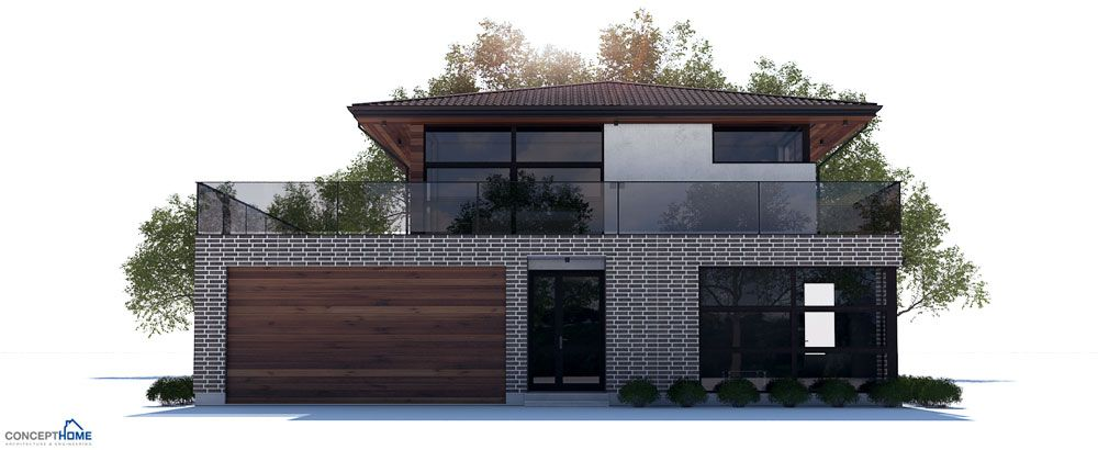 Modern house plan with large living room, three bedrooms ...