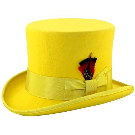 This  Men s Elegant  Top Hat - Yellow by Ferrecci will add timeless  style  to any outfit. It is constructed of 100-percent  wool felt dc5cf390fad