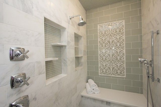 shower with stacked marble tiles shower surround