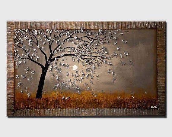 Silver Tree Abstract Print, Abstract Painting, Wal